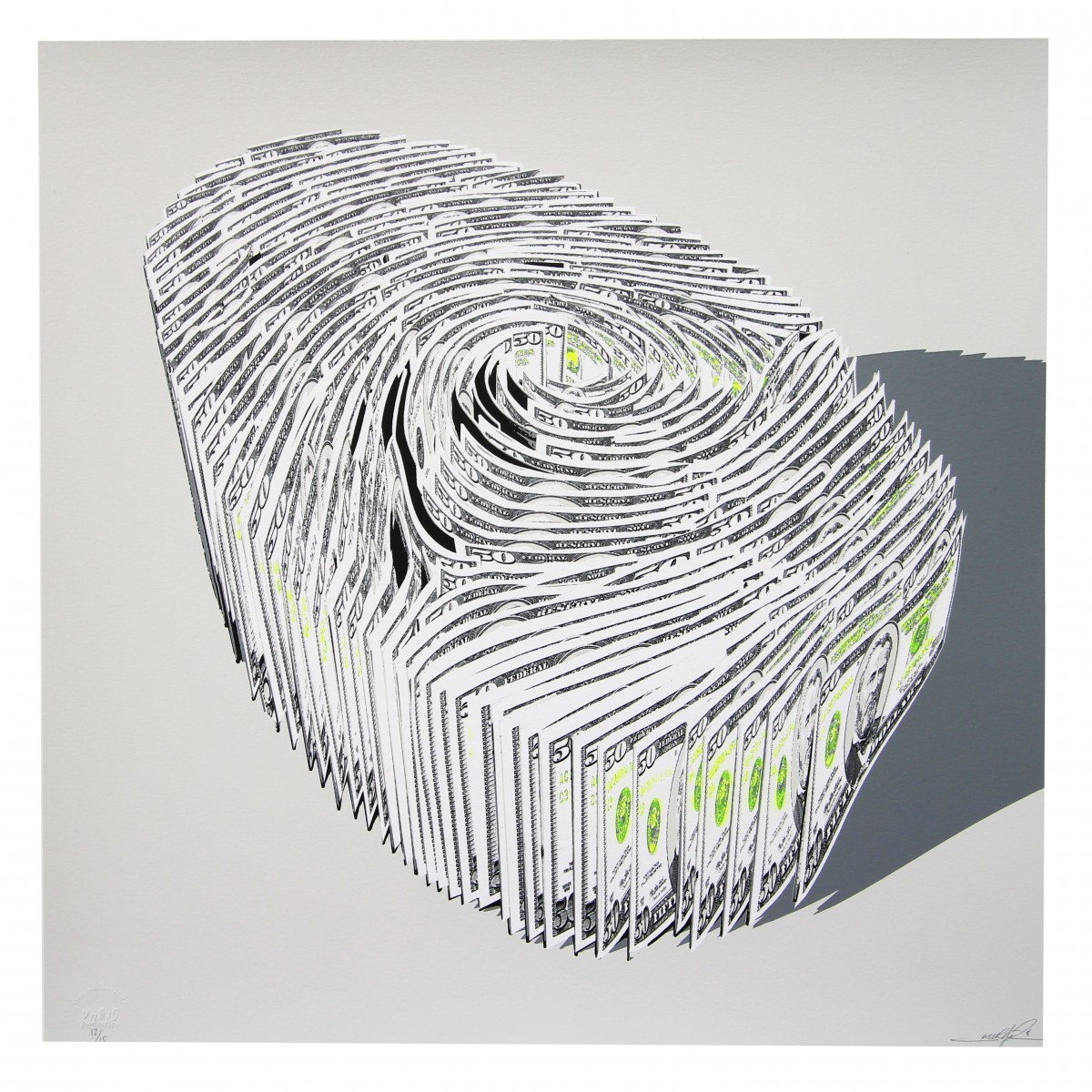 Serigraphies KURAR Human finger print Fluorescent Yellow edition
