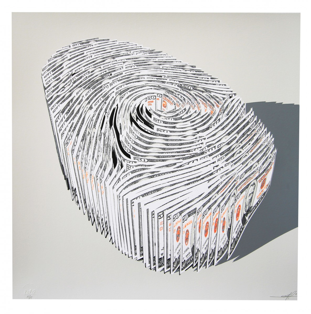 Serigraphies KURAR Human finger print Fluorescent Orange edition