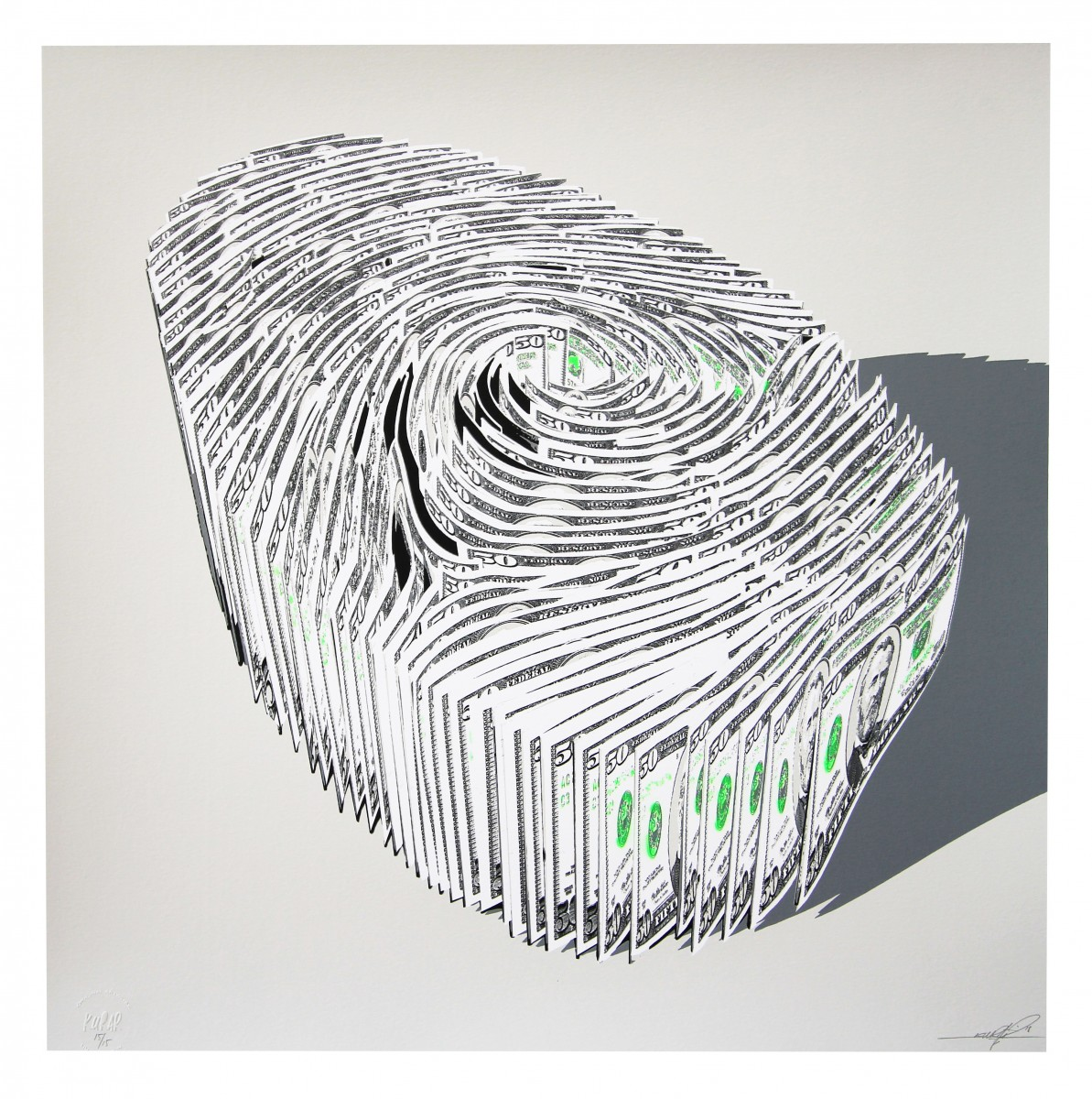 Serigraphies KURAR Human finger print Fluorescent green edition
